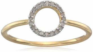 Amazon Collection 18K Yellow Gold Plated Sterling Silver Diamond Circle Ring(1/10 cttw I-J I3)
