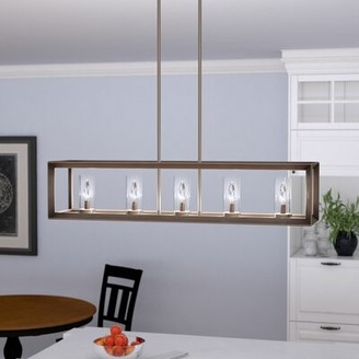 Three Posts Thorne 5 - Light Kitchen Island Linear Pendant Finish: Gunmetal Bronze, Shade Color: Clear Glass