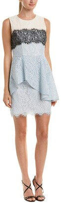 BCBGMAXAZRIA Azria Women's Noah Asymmetrical Lace Peplum Dress
