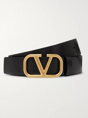 Valentino 3cm Logo-Embellished Leather Belt