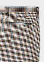 Paul Smith Men's Slim-Fit Tan Check Wool And Silk Blend Trousers