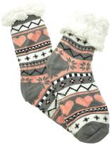 Angelina Gray Heart Fleece-Lined Slipper Socks