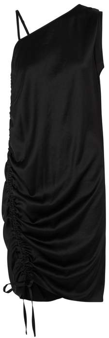 Alexander Wang Black Ruched Satin Dress