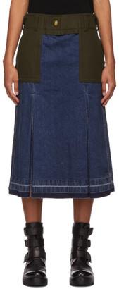 Sacai Blue Denim and Wool Combo Skirt