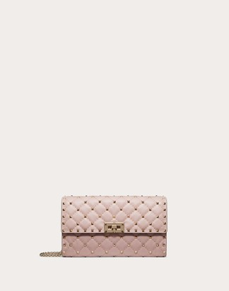 Valentino Rockstud Spike Nappa Leather Crossbody Clutch Bag Women Water Rose 100% Lambskin OneSize