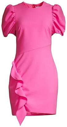 LIKELY Malta Puff-Sleeve Ruffle Sheath Dress