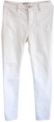 Free People White Cotton Jeans
