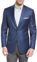 Brioni Box-Check Wool Two-Button Sport Coat, Blue/Gray