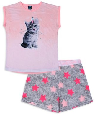 Jellifish Kids Girls 4-14 Pink Bunny Matching Short & Tee Pajama Set