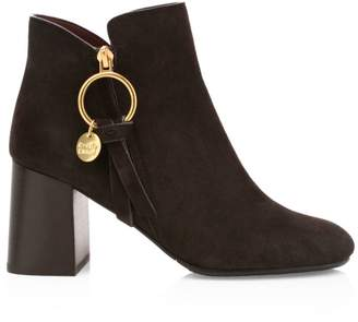 See by Chloe Louise Block-Heel Suede Ankle Boots