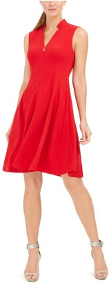 Calvin Klein Womens Red Zippered Sleeveless V Neck Above The Knee Fit + Flare Dress Size: 14