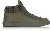 Giuseppe Zanotti Commando Military Green Canvas and Leather Studded Sneakers