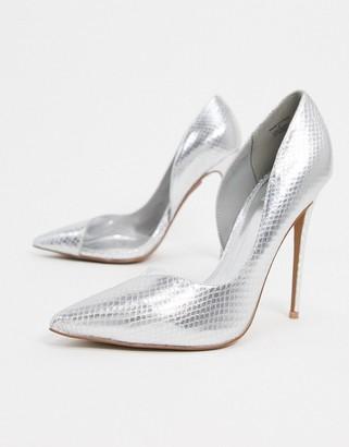 ASOS DESIGN Pia D'orsay stilleto court shoes in silver