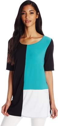 Star Vixen Women's Elbow Sleeve Tri-Colorblock Tunic