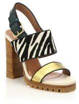 Marni Zebra-Print Calf Hair & Metallic Leather Sandals
