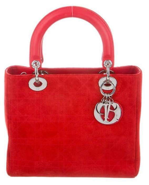 Christian Dior Suede Cannage Lady Bag Red Suede Cannage Lady Bag