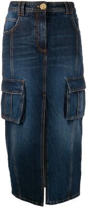 Balmain Cargo-Pocket Denim Pencil Skirt