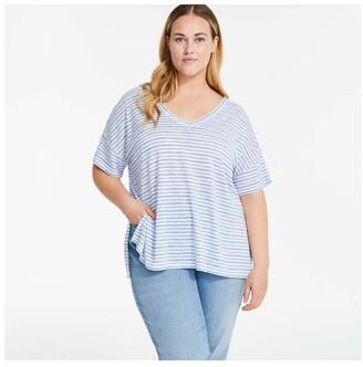 Joe Fresh Women+ Stripe Wide V-Neck Tee, Blue (Size 1X)