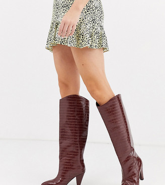 Asos Design DESIGN Wide Fit Cherry pull on knee boots in brown croc
