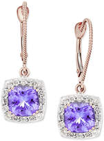Macy's Tanzanite (3-1/5 ct. t.w.) and Diamond (1/2 ct. t.w.) Square Halo Drop Earrings in 14k Rose Gold