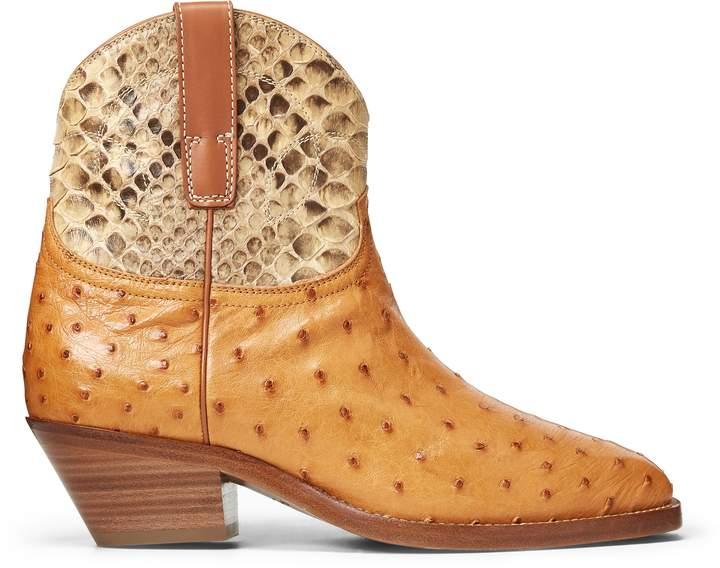 Ralph Lauren Jayme Ostrich-Python Boot