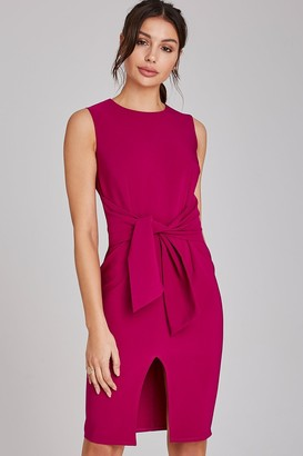 Paper Dolls Lincoln Magenta Tie-Waist Pencil Dress