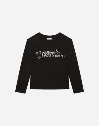 Dolce & Gabbana Long-Sleeved Jersey T-Shirt With Embroidery