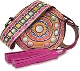 Moschino Fuchsia Leather Round Crossbody Bag w/Tassels