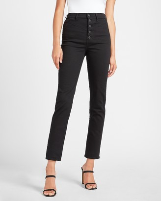 Express Super High Waisted Black Seamed Button Fly Twill Pant