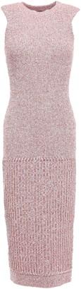 Victoria Beckham Melange Ribbed Wool-blend Midi Dress