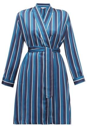 Derek Rose Brindisi Striped Silk-satin Robe - Womens - Navy
