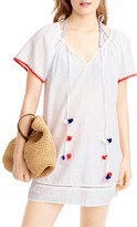 J.Crew J. Crew Embroidered Pompom Linen & Cotton Cover-Up