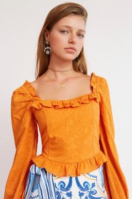 Finders Keepers SORAYA LONG SLEEVE TOP Saffron