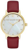 Kate Spade New York Analog Novelty Metro Goldtone Leather Strap Watch