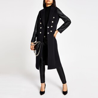 River Island Womens Navy faux leather sleeve longline coat