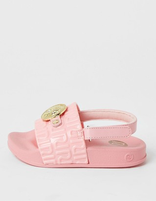 River Island Girls Panther Head Sliders -Pink