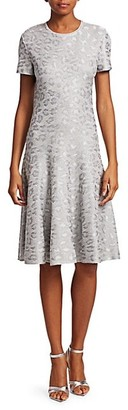 St. John Sequin Animal Print Knit Jacquard A-Line Dress