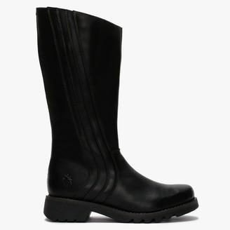 Fly London Reko Black Leather Calf Boots