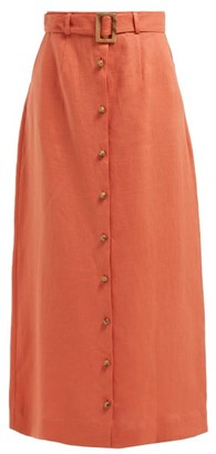 Lisa Marie Fernandez Belted Linen Maxi Skirt - Womens - Orange