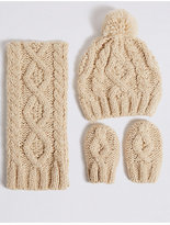Marks and Spencer Kids' Cable Knit Hat, Scarf & Gloves Set