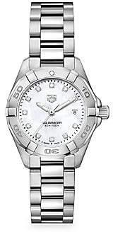 Tag Heuer Women's Aquaracer 27MM Stainless Steel, Diamond & Mother-of-Pearl Quartz Bracelet Watch
