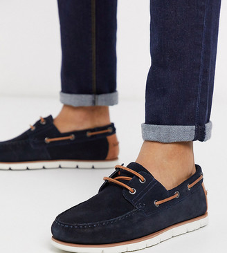 ASOS DESIGN Wide Fit boat shoes in navy suede with white sole