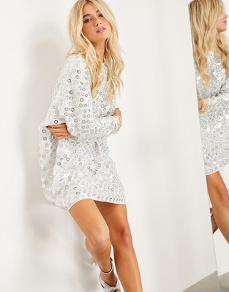 ASOS EDITION mini batwing dress with mirror disc sequins