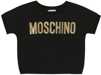 MOSCHINO BAMBINO Sequined stretch-cotton T-shirt