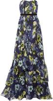 Erdem Simona Floral-print Silk-voile Gown - Navy