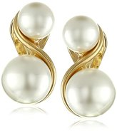Anne Klein Gold-Tone and Faux Pearl Clip-On Earrings