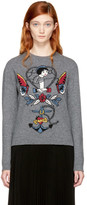 Valentino Grey Cupid 'Joe Mary' Tattoo Sweater