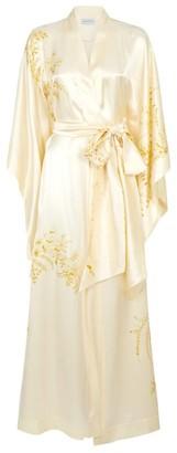 Carine Gilson Long Silk Floral Print Kimono Robe