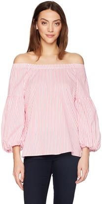 Velvet by Graham & Spencer Women's Gloris Stripe Off The Shoulder Shirt