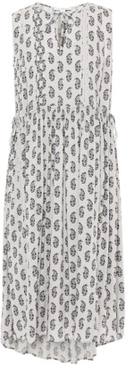 James Perse Shirred Floral-print Mousseline Dress